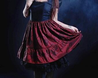 Gothic Lolita Red and Black Taffeta Skirt ,Steampunk, Casual Lolita, Otome, Vampire, Ready to ship
