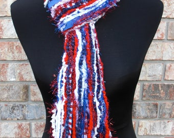 South Alabama, New England Patriots, Houston Texans Scarf Inspired Skinny Scrappy Red, White, and Blue - Handmade