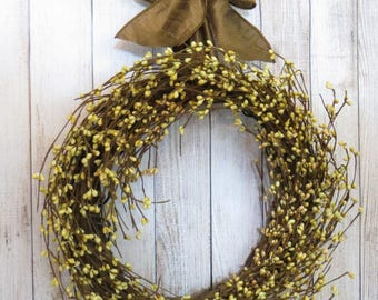 Year Round Wreath, Berry Wreath, Rustic Wreath,  Small Wreath, Neutral Wreath