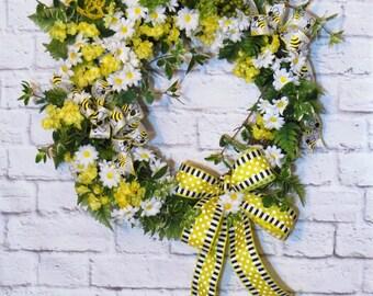 Daisy Wreath, Spring Wreath, Yellow Wreath, Spring Decor, Easter Wreath