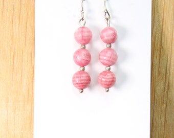 Pink Jade with Sterling Silver Earrings E2174