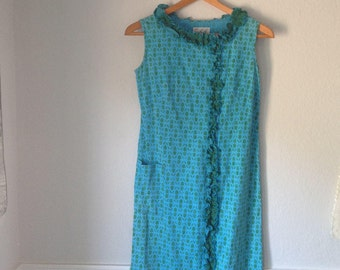 60s Vintage Shift Dress Aqua Blue and Green Zipper Front Dress with Ruffled Trim and Pocket