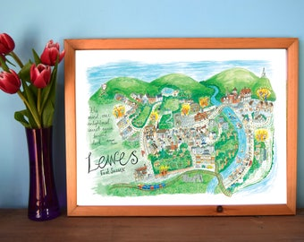 Illustrated Map of Lewes, Map Art, Town Map, East Sussex, England Map, Lewes Bonfire