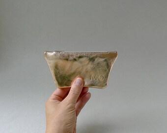 Mini pouch / card holder / coin purse - rose gold leather & ecru zipper