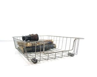 Vintage Wire File Basket / Metal Wire Desk Tray / Office Storage