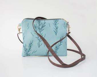 Flat Shoulderbag, Cross Body Purse, Floral Shoulder Bag, Organic Cotton Purse, Cross Body Clutch, Kids Messenger Bag, Adjustable Vegan Strap