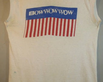 Vintage 1983 Bow Wow Wow, Tour Shirt, When The Going Gets Tough, North American Tour, Dingy, Small Holes, Worn, Factory Short Ribbed Sleeves