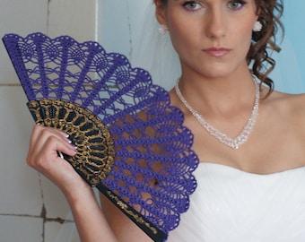 Lace Fan- Hand Held Fan- Handmade Lace Hand Fan- Folding Hand Fan- Purple Spanish Wedding Fan- Bridal Fan- Halloween Costume- Mother Gift