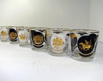 Vintage PAUL REVERE ROCKS Set/6 Retro Eames Era Barware Low Ball Libbey Glass Libby Monticello Old Ironsides
