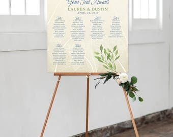 Seating Chart on Foam Core - Eucalyptus/Green Foliage/Vines (Style 0006)