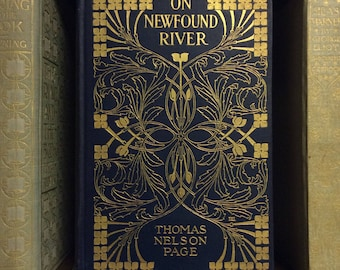 On Newfound River. 1906 Thomas Nelson Page novel with Decorative Designer gilt cover