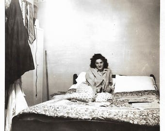 "Vintage Snapshot ""Quiet Evening At Home"" Sultry Brunette Wearing Man's Shirt Poses On Rumpled Bed Found Vernacular Photo"