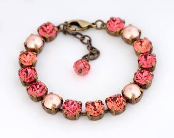 Salmon Pink Swarovski Crystal Bracelet, Peach Rhinestone Bracelet, Rhinestone Tennis Bracelet, Crystal Rhinestone Jewelry Nickel Free, Deni