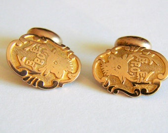 Rare Antique Elks Club Cuff Buttons / Cufflinks / 10K Gold Tops / Signed GLP / B.P.O.E. Fraternal / Jewelry / Jewelelry