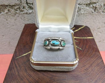 Turquoise Ring Native American Ring Size 6 1/4 Johnny Pitchlynn Choctaw Indian Sterling Silver Southwestern Ring Blue and Green Turquoise