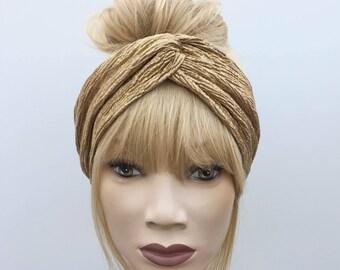 Gold textured lame turban twist headband
