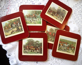 Vintage Horse Coasters, Fox Hunting Coasters, Equestrian Gift, Cork Back Coasters in Original Box, Clover Leaf 6 Horse Lover's Coasters