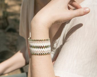 Multi-tone, Hand-Woven Glass Beaded Cuff Bracelet