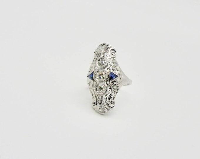 White Gold Filigree Ring, Filigree Diamond and Sapphire Ring, Antique Diamond Ring, Filigree Ring, Vintage Ring, Vintage Diamond Ring
