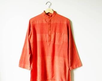 Vintage Orange Cotton Gauze Tunic / 1970s Boho Tunic in Pumpkin Spice / Rust Cinnamon Soft Hippie Tunic