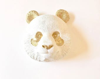 REaDY to SHiP, WHITE GOLD Large Panda, Faux Taxidermy, Large Faux Taxidermy, Animal Head wall mount, Faux Animal Head, Animal Wall Hanging,