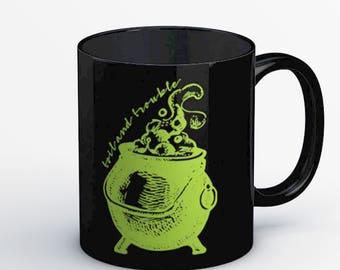 Black TOIL AND TROUBLE Cauldron Halloween Mug