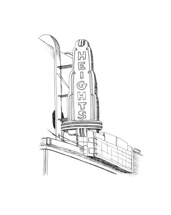 Houston Heights Illustration - 6x9, 9x12, 11x14, Downtown Houston Art Illustration, Houston Pride, Black Ink Line Drawing