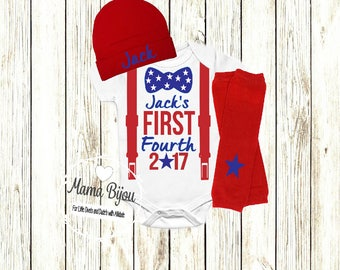 Baby Boy First Fourth of July Outfit, 4th of July Baby Clothing, American USA Baby Clothes, Military Baby Outfit, Newborn Baby Toddler