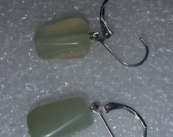 Elegant Jade Leverback Earrings 15mm Nugget Shape 925 Sterling Silver Retail 119.96 Save 74.96