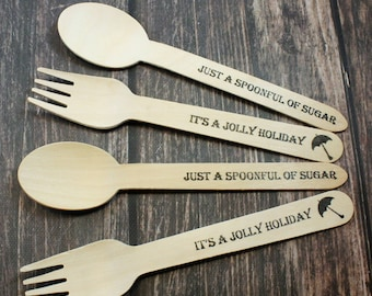 12 Mary Poppins Party, Forks, Spoons, Knives, Silverware, Spoonful of Sugar, Jolly Holiday, Disposable , Favors, Decorations, Birthday