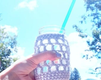 Mason Jar Sleeve, Mason Jar Cover, Drink Sleeve, Jar Lantern, Seaside Decor