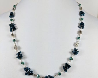 Apatite Pebble Necklace with Celtic Accents, in Silver