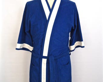 1970s-80s Velour Robe / vintage Hemingway Point blue & white stripe athletic boxer robe / men's one-size-fits-all