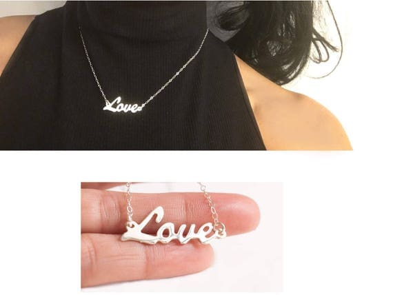 Silver Love Necklace, Love Necklace, Love Name Necklace, Cursive Script Necklace, Love Pendant, Dainty Love Necklace, Love Plate Necklace