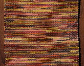 "Hand Woven Rag Rug -Quiet Sunset Cotton 29"" x 46"""