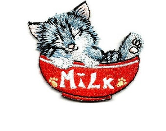 Cat- Kitten - Pet - Cat In Bowl Of Milk - Embroidered Iron On Applique Patch