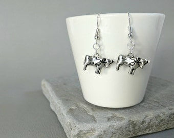 Cow Earrings, Cow Gift, Cow Jewellery, Cow Jewelry, Farm Earrings, Farm Animals, Spring Earrings, Spring Jewellery