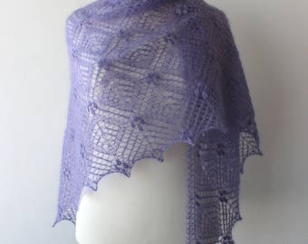 Lavender blue luxury kidsilk wrap, handknit Estonian lace, triangular mohair shawl