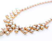 Sparkly Rhinestone Diamante Gold Coloured Articulated Vintage Necklace (c1950s) - Wedding