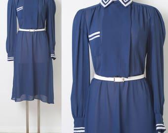 80s Dress, Vintage Blue Dress, Vintage navy blue dress, Vintage secretary dress, Vintage sheer dress,Nautical Dress, Blue white dress - M/L