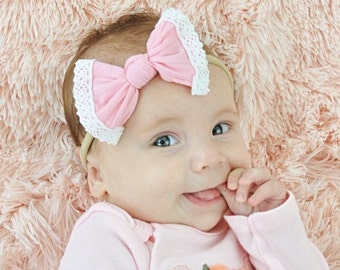 Pink Nylon and Lace bow, headband set 1 size fits all, comfy baby newborn girls hair,