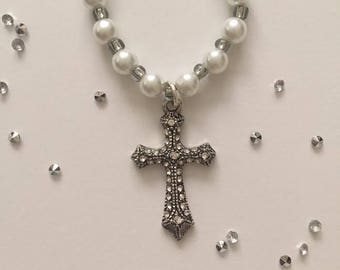 Pearls of Hope Cross Necklace