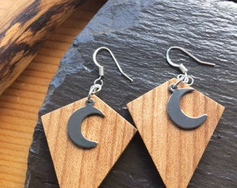 Elm Wooden Earrings with Silver Moon charms