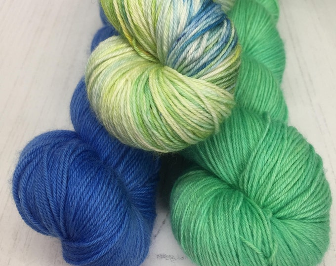Aqua loco Brights  - 4ply yarn pack - 3 skeins