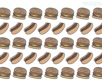 Hamburgers & Hot Dogs || Planner Stickers