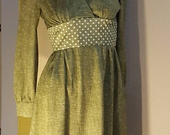 Vintage 60s 70s Green MOD Dress w/ Polka Dot Waist