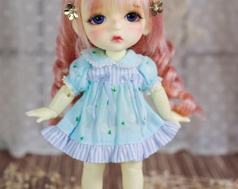 "Lati Yellow/ Pukifee - ""Small Spring"" Dress - ShortSleeve - Blue Color"