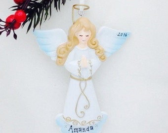FREE SHIPPING Angel with Folded Hands Personalized Christmas Ornament / Angel Ornament / Elegant  / Personalized Christmas Ornament