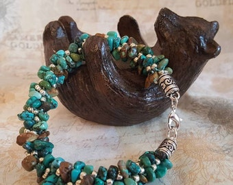 Turquoise Chips & Silver Kumihimo Beaded Bracelet