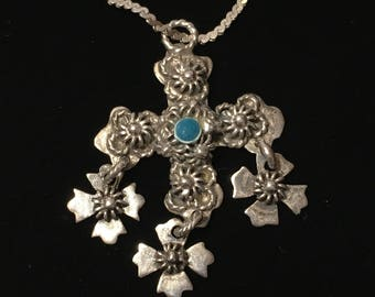 Vintage Silver Filagreed Cross Necklace - Religious Cross Pendant Necklace